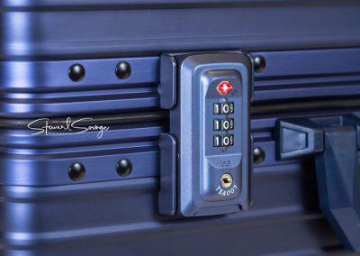 Aleon Aluminum Designer Luggage FAA Lock Detail