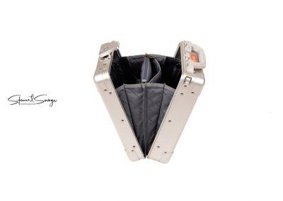 Aleon Aluminum Designer Luggage Side View