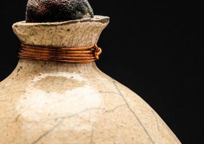 Raku Cremation Urn with Copper Wire