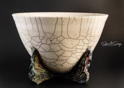 Raku Bowl with Hand-Build Legs White Crackle and Copper Sand